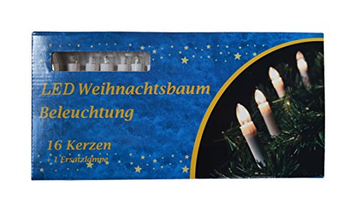 16er led weihnachtskerzen lichterkette weihnachtskette in kalt weiss weihnachtsdeko. Black Bedroom Furniture Sets. Home Design Ideas